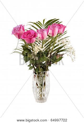 Bouquet Of Pink Roses In The Vase