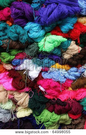 Bundles of Yarn at the Market