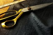 pic of tailoring  - Measuring and cutting textile or fine fabric - JPG