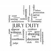 picture of jury  - Jury Duty Word Cloud Concept in black and white with great terms such as appear serve juror and more - JPG