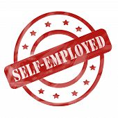 image of self-employment  - A red ink weathered roughed up circles and stars stamp design with the words SELF - JPG