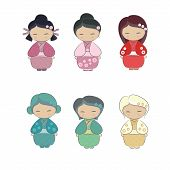 picture of japan girl  - Icons stickers characters japanese girl in kimono - JPG