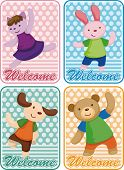 stock photo of parti poodle  - cartoon animal dancer seamless pattern