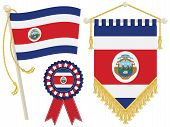 stock photo of rosettes  - costa rica flag rosette and pennant isolated on white - JPG
