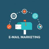 E-mail Marketing Flat Illustration poster