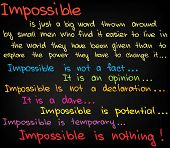foto of impossible  - Sketched words and charts of Possible vs Impossible - JPG