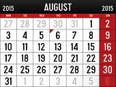 picture of august calendar  - Illustration of the Calendar for August 2015 - JPG