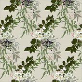stock photo of jasmine  - Floral pattern in earthy tones with jasmine - JPG