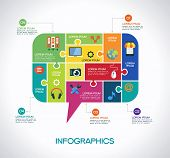 image of bubbles  - Network communication infographic Template with interface icons - JPG