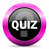 stock photo of quiz  - quiz pink glossy icon - JPG
