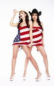 foto of independent woman  - Funny Women in Hats and Heels Covering in USA Flag - JPG