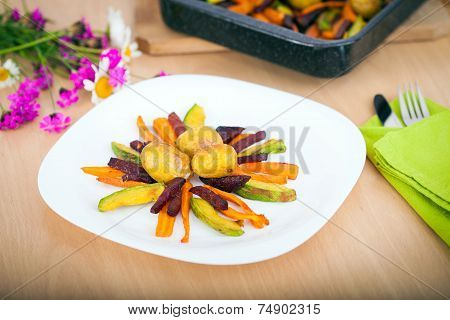 Plate Ful Of Vegetable Cooked Chips