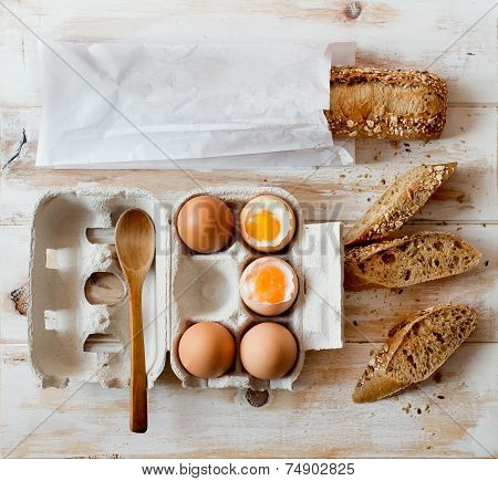 Soft Boiled Eggs And Wholemeal Bread.
