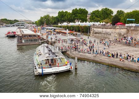 Ship Operated By Batobus Paris Is Moored To The Pier