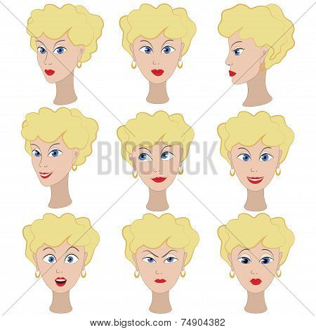 Set of variation of emotions of the same girl with blonde hair.