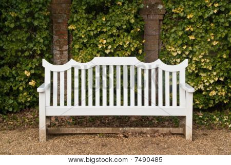 A Single White Bench  In Front Of An Ivy-covered Brick Wall