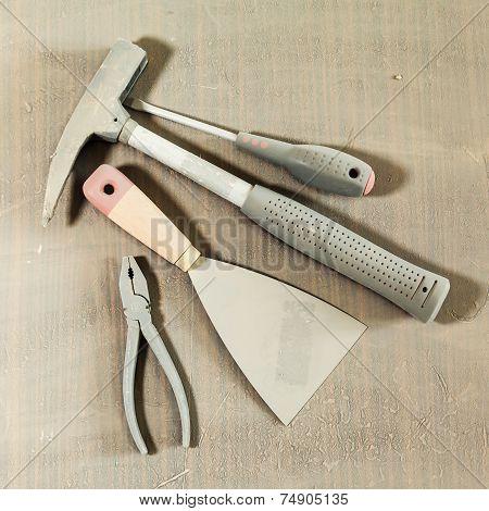 Set Of Tools Under Dust