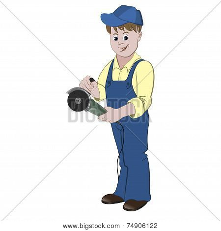 The repairman or handyman standing with a angle grinder or saw