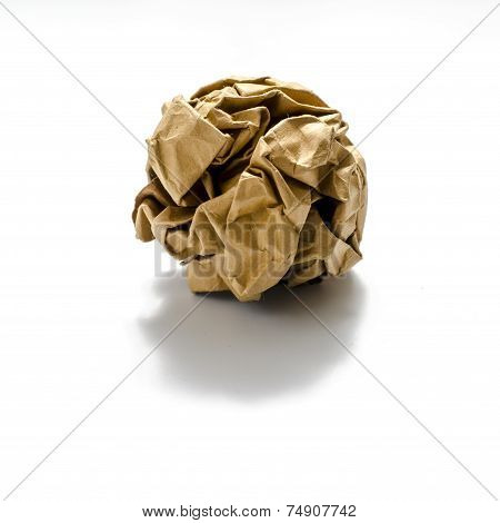 Color Crumpled Paper Ball On A White