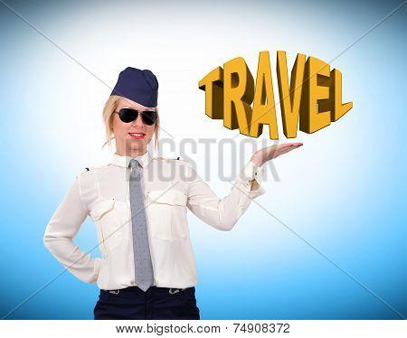 Stewardess Showing Travel Symbol