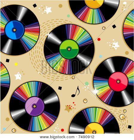 Seamless vinyl records pattern