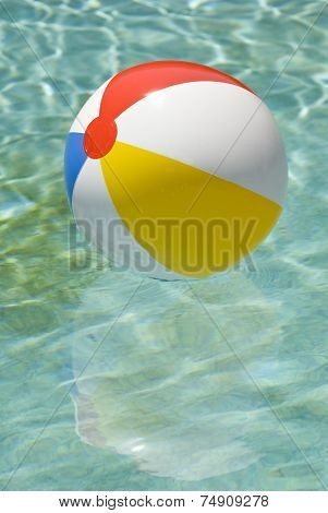Beach Ball Floating In Swimming Pool Vertical
