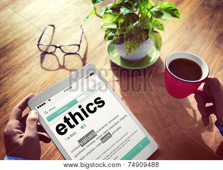 Man Reading the Definition of Ethics