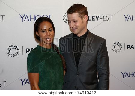 NEW YORK-OCT 18: Actress Jada Pinkett Smith (L) and Benjamin McKenzie attend the 2nd Annual Paleyfest New York Presents: 'Gotham' at Paley Center for Media on October 18, 2014 in New York City.