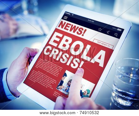 Businessman Holding Tablet Ebola News Concept