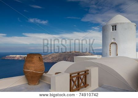 Ancient Vase And Windmill At Santorini