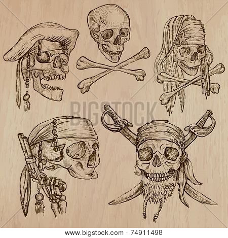 Pirates - Skulls Collection. Line Art, Vector