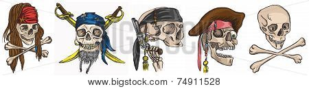 Pirates - Skulls Collection. Colored Vector.