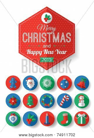 Set of Christmas typographical label and round flat icons with long shadow.  Christmas elements for