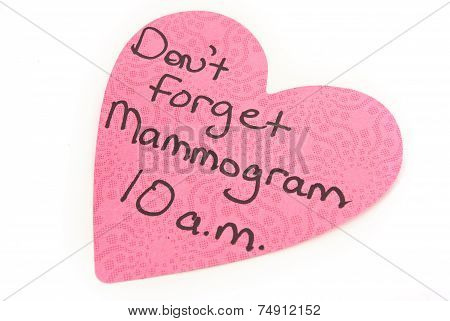 Mammogram Reminder Post It Note