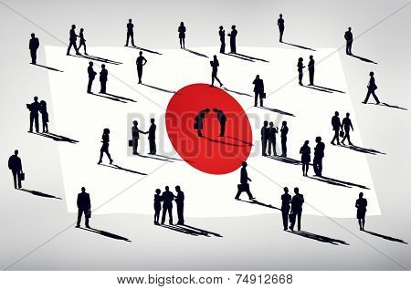 Silhouette Group of People Global Business Japan Concept