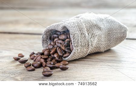 Coffee Beans In The Sackcloth Bag