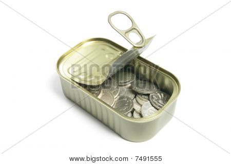 Coins In Tin Can