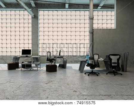 3D Rendering of Small office area in an industrial loft with tables, stools, chairs and equipment arranged in front of large windows