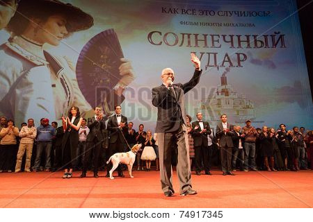 MOSCOW - OCTOBER,7 : N. Mikhalkov with team. Premiere of the movie Solnechny Udar, October,7 , 2014 at Octyabr Cinema in Moscow, Russia
