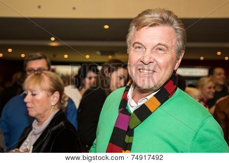 MOSCOW - OCTOBER,8 : Singer Lev Leshenko. Premiere of the movie Weekend, October, 8, 2014 at Octyabr Cinema in Moscow, Russia