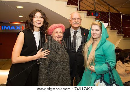 MOSCOW - OCTOBER, 7: Nikita Mikhalkov, Actress Marina Solovyeva. Premiere of the movie Solnechny Udar, October, 7, 2014 at Octyabr Cinema in Moscow, Russia