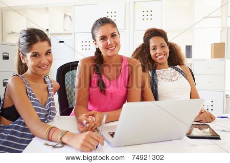 Women Using Laptop In Modern Office Of Start Up Business