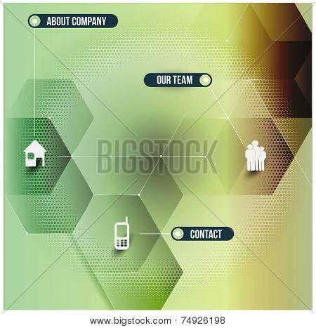 Abstract vector infographic design with 3D cubes and with corporate contact icons