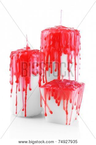 Bloody candles for Halloween holiday, isolated on white