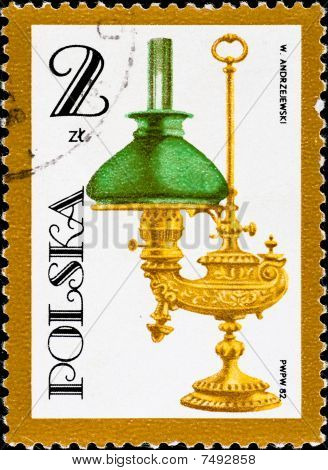 Postage Stamp Shows Vintage Kerosene Lamp