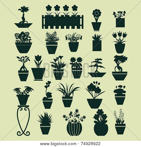 Icons Set Of Plant Silhouette Collection - Illustration