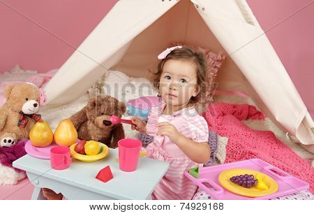 Pretend Play Tea Party At Home With A Teepee Tent