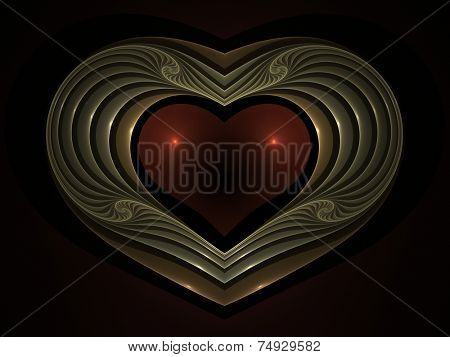 Ornamental and decorative fractal heart illustration
