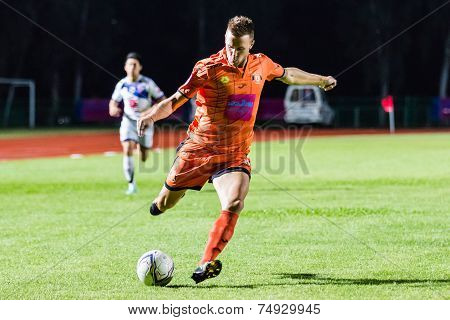 Sisaket Thailand-october 22: Brent Mcgrath Of Sisaket Fc. Shooting Ball During Thai Premier League B