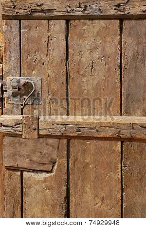 Old Door With Mortise Lock And Doorknob